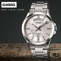 Velashop นาฬิกาข้อมิอผู้ชายCasio สายสแตนเลส รุ่น MTP-1381D-7AVDF, MTP-1381D-7A, MTP-1381D -สีเงิน