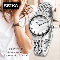 Velashop นาฬิกาข้อมือผู้หญิง SEIKO Quartz Swarovski Crystals รุ่น SFQ807P1, SFQ807P, SFQ807