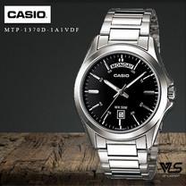 Velashop นาฬิกาข้อมือผู้ชาย Casio Standard สีดำ สายสแตนเลส รุ่น MTP-1370D-1A1VDF, MTP-1370D-1A1, MTP-1370D