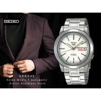Velashop นาฬิกาข้อมือผู้ชาย SEIKO 5 Automatic สายสแตนเลส หน้าปัดขาว รุ่น SNKE49K1, SNKE49K, SNKE49