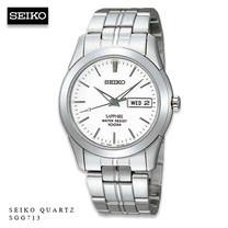 Velashop นาฬิกาข้อมือผู้ชาย Seiko กระจกซัฟฟราย สีเงิน/ขาว สายสแตนเลส รุ่น SGG713P1 SGG713