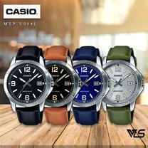 Velashop Casio Standard นาฬิกาข้อมือผู้ชาย สายหนัง สีดำ รุ่น MTP-V004L, MTP-V004L-1BUDF, MTP-V004L-1B, MTP-V004L-1B2UDF,MTP-V004L-1B2, MTP-V004L-2BUDF, MTP-V004L-2B, MTP-V004L-3BUDF, MTP-V004L-3B