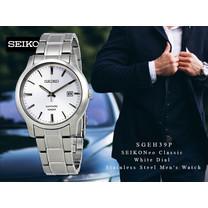 Velashop SEIKO นาฬิกาข้อมือผู้ชาย SEIKO สายสแตนเลส รุ่น SGEH39,SGEH39P,SGEH39P1 - สีเงิน