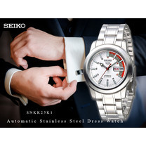Velashop นาฬิกาข้อมือ Seiko 5 Sport Automatic นาฬิกาข้อมือผู้ชาย สีเงิน สายสแตนเลส รุ่น SNKK25K1, SNKK25K, SNKK25