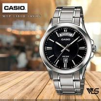 Velashop นาฬิกาข้อมือผู้ชาย Casio สายสแตนเลส สีเงิน รุ่น MTP-1381D,MTP-1381D-1A,MTP-1381D-1AVDF