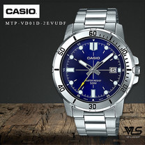Velashop นาฬิกาข้อมือผู้ชาย Casio Standard สายสแตนเลส สีน้ำเงิน รุ่น MTP-VD01D-2EVUDF, MTP-VD01D-2E, MTP-VD01D