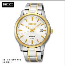 Velashop นาฬิกาผู้ชาย Seiko Quartz Sapphire สายสแตนเลส รุ่น SGEH42P1 SGEH42P SGEH42