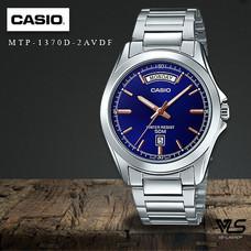 Velashop นาฬิกาข้อมือผู้ชาย Casio สายสแตนเลส รุ่น MTP-1370D-2AVDF MTP-1370D-2A MTP-1370D(หน้าปัดน้ำเงิน)