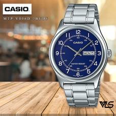 Velashop นาฬิกาข้อมือผู้ชาย Casio Standard สีเงิน/หน้าขาว สายสแตนเลส รุ่น MTP-V006D-2BUDF MTP-V006D-2B MTP-V006D