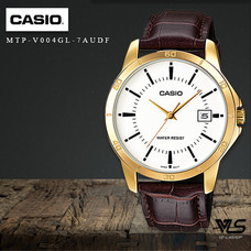 Velashop นาฬิกาผู้ชายสายหนัง Casio สายหนัง รุ่น MTP-V004GL-7AUDF, MTP-V004GL-7A, MTP-V004GL (สีน้ำตาลแดง)