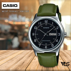 Velashop นาฬิกาข้อมือผู้ชาย Casio Standard สายหนัง รุ่น MTP-V006L-3BUDF, MTP-V006L-3B, MTP-V006L - สีเขียว