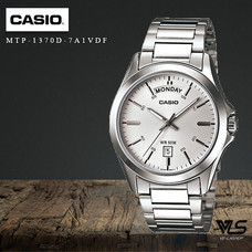 Velashop นาฬิกาข้อมือผู้ชาย Casio Standard สายสแตนเลส รุ่น MTP-1370D-7A1VDF, MTP-1370D-7A1, MTP-1370D