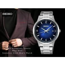 Velashop นาฬิกาข้อมือผู้ชาย SEIKO Essentials Quartz Blue Dial Stainless Steel Men's Watch รุ่น SGEH89, SGEH89P