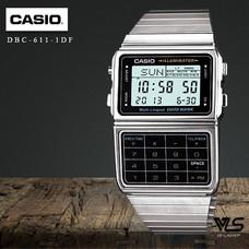 Velashop นาฬิกาข้อมือผู้ชาย Casio DATA Bank สายสแตนเลส รุ่น DBC-611-1DF, DBC-611-1, DBC-611 - สีเงิน