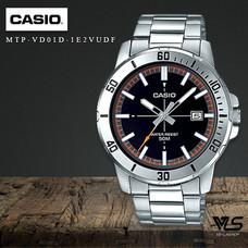 Velashop นาฬิกาข้อมือผู้ชาย Casio Standard สายสแตนเลส สีเงิน รุ่น MTP-VD01D-1E2VUDF, MTP-VD01D-1E2, MTP-VD01D