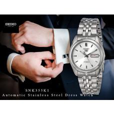 Velashop นาฬิกาข้อมือ Seiko 5 Sport Automatic นาฬิกาข้อมือผู้ชาย สายสแตนเลส รุ่น SNK355K1, SNK355K, SNK355 - สีเงิน