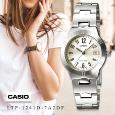 Velashop Casio นาฬิกาข้อมือผู้หญิง สายสแตนเลส รุ่น LTP-1241D, LTP-1241D-7A2DF, LTP-1241D-7A2
