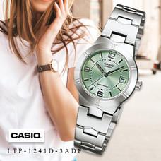 Velashop Casio นาฬิกาข้อมือผู้หญิง สายสแตนเลส รุ่น LTP-1241D, LTP-1241D-3ADF, LTP-1241D-3A