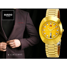 Velashop Rado Diastar Automatic นาฬิกาข้อมือสุภาพบุรุษ พลอย 11 เม็ด สายทอง รุ่น R12413493