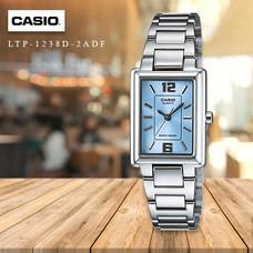 Velashop นาฬิกาผู้หญิง Casio สายสแตนเลส รุ่น LTP-1238D,  LTP-1238D-2ADF, LTP-1238D-2A - หน้าปัดฟ้า