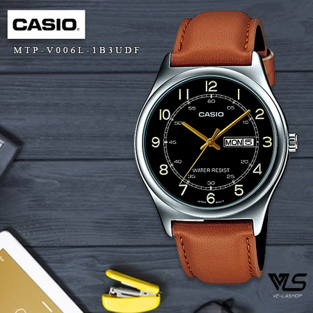 Velashop นาฬิกาข้อมือผู้ชาย Casio Standard สายหนัง รุ่น MTP-V006L-1B3UDF, MTP-V006L-1B3, MTP-V006L - สีน้ำตาล