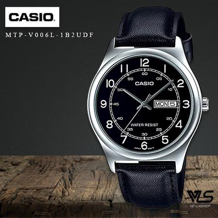 Velashop นาฬิกาข้อมือผู้ชาย Casio Standard สายหนัง รุ่น MTP-V006L-1B2UDF, MTP-V006L-1B2, MTP-V006L - สีดำ