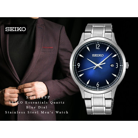 Velashop นาฬิกาข้อมือผู้ชาย SEIKO Essentials Quartz Blue Dial Stainless Steel Men's Watch รุ่น SGEH89, SGEH89P