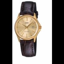 Casio นาฬิกาข้อมือ สายหนังแท้ รุ่น LTP-1183Q-9A - Brown/Gold รับประกันศูนย์ 1 ปี ของแท้