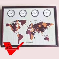 SEIKO Multi-Time Clock นาฬิกาแขวนไม้แท้ แผนที่โลก ทรงเหลี่ยม 24 นิ้ว รุ่น QXA648B