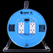 Toshino ล้อเก็บสายไฟสาย รุ่น FM310T-20M VCT 3x1.0 ยาว 20 ม. สีฟ้า