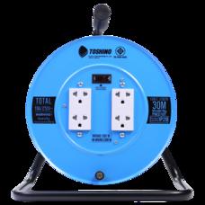 Toshino ล้อเก็บสายไฟสาย VCT 3x1.0 ยาว 30 ม. สีฟ้า  รุ่น FM310T-30M