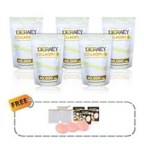Deraey Collagen 5 ซอง แถมฟรี Deraey White Sakura Soap สบู่ซากุระ 3 ก้อน พร้อมถุงตีฟอง