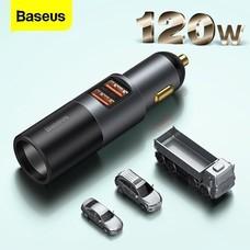 Baseus อุปกรณ์ชาร์จที่จุดบุหรี่ในรถยนต์ 120 W Usb 4 .0 QC4 .0 QC3 .0 Pd Type C
