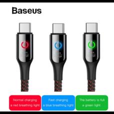 Baseus C-Shaped สายชาร์จตัดไฟ สายชาร์จอัจฉริยะ ชาร์จเต็ม ตัดไฟเอง สำหรับ Type-C 3A ยาว 1เมตร
