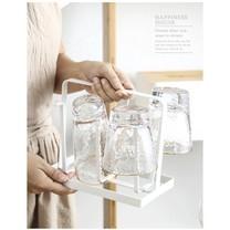 ที่คว่ำแก้ว เหล็ก 6 ใบ ใช้ได้ทุกขนาด ที่คว่ำแก้วน้ำ ที่วางแก้ว สีขาว/ครีม