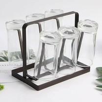 ที่คว่ำแก้ว เหล็ก 6 ใบ ใช้ได้ทุกขนาด ที่คว่ำแก้วน้ำ ที่วางแก้ว สีน้ำตาล