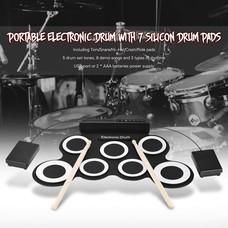 Electronic Drum Pad กลองไฟฟ้า กลองชุด 7 ชิ้น แถม ไม้กลอง 1 คู่ + กระเดื่อง ส่งฟรีทั่วไทย