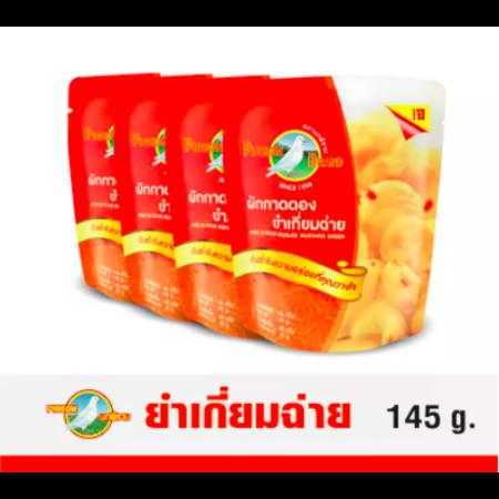 ตรานกพิราบ ผักกาดดอง ยำเกี่ยมฉ่ายซอง (Pack 4 ) 145 G.