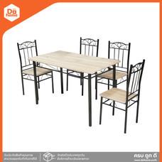 HEAP ชุดโต๊ะอาหารเมลามีน 4 ที่นั่ง รุ่น โนอา 024 สีบีช |ZWF|