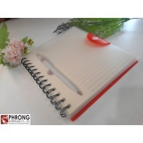 สมุดโน๊ตปกPVC+ปากกา พกพาสะดวกพร้อมใช้งาน