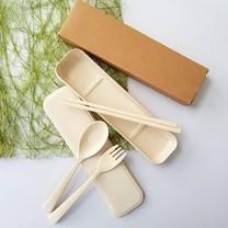 ชุดช้อนส้อมฟางข้าวสาลี วัสดุEco จากฟางข้าว+พลาสติกfood grade